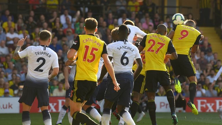 Troy Deeney heads Watford level against Tottenham