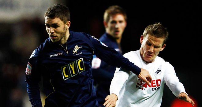 Josh McQuoid (left): Millwall striker has joined Burnley on loan