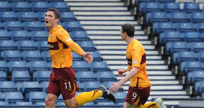 Sutton: Celebrates his goal for Motherwell