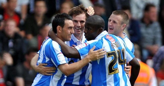 Kilbane: Celebrates goal for Huddersfield