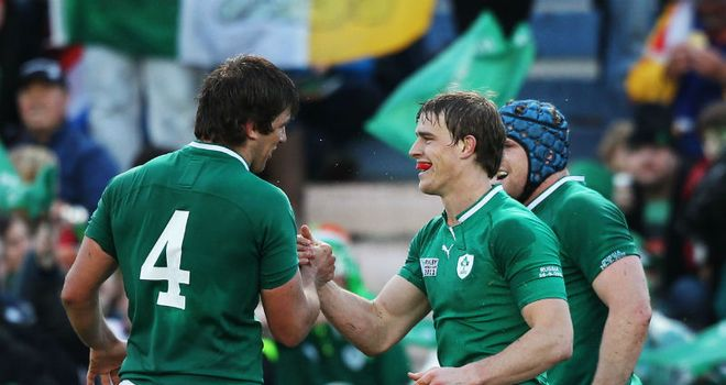 Andrew Trimble (r) is congratulated by Donnacha O'Callaghan