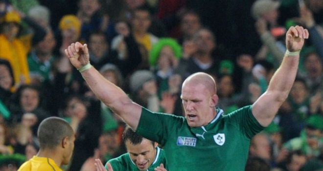 Paul O'Connell celebrates Ireland's victory