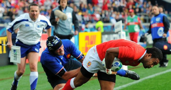 Hufanga: Dives over for Tonga's only try