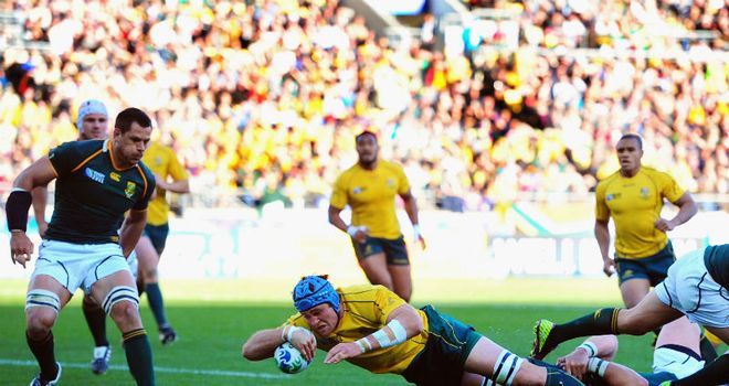 James Horwill dives over for the only try