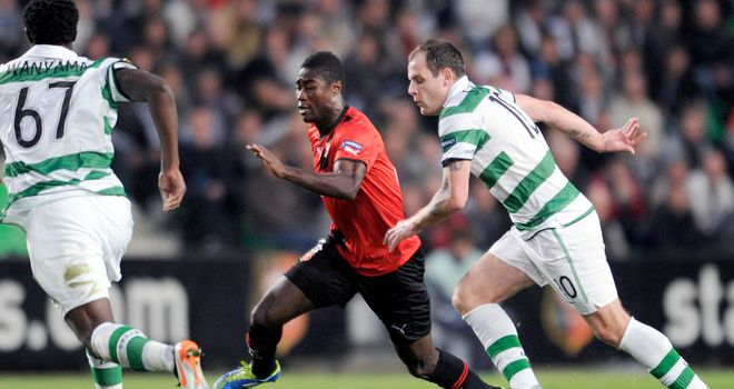 Anthony Stokes: The Celtic striker battles for the ball during his side's 1-1 draw away at Rennes