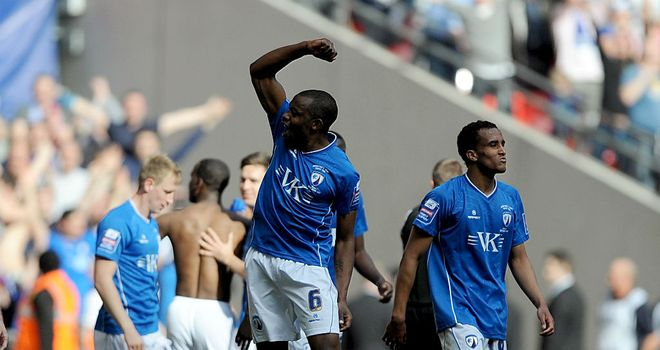 Craig Westcarr: Celebrates Chesterfield's second against Swindon at Wembley