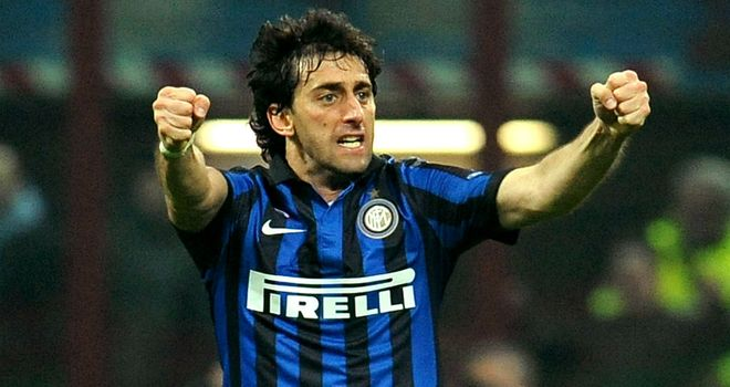 Diego Milito: Was on target with a hat-trick for Inter in a dramatic clash with Genoa