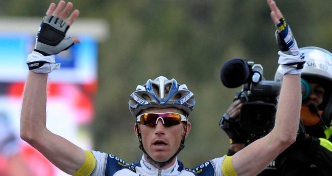 Lieuwe Westra: Celebrates his victory at the end of the fifth stage of Paris-Nice