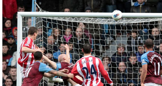 Robert Huth powers home his header for Stoke against Aston Villa