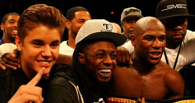 Floyd Mayweather and 'The Money Team', with 50 Cent far right