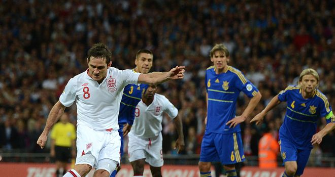 Frank Lampard scored his 26th England goal from the spot late on