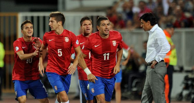 Serbia players celebrate in front of Wales boss Chris Coleman