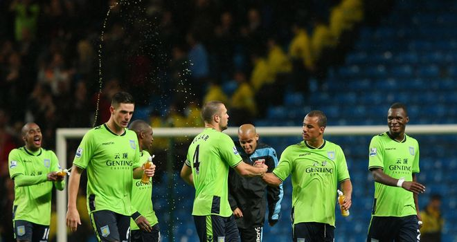 Gabriel Agbonlahor and Villa's players celebrate their success over Manchester City