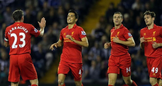 Sahin: Celebrates one of his goals for the Reds