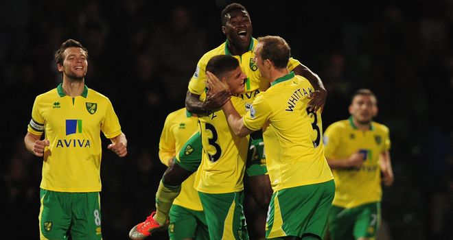 Norwich players celebrate with Alex Tettey after his goal in the Capital One Cup win over Spurs