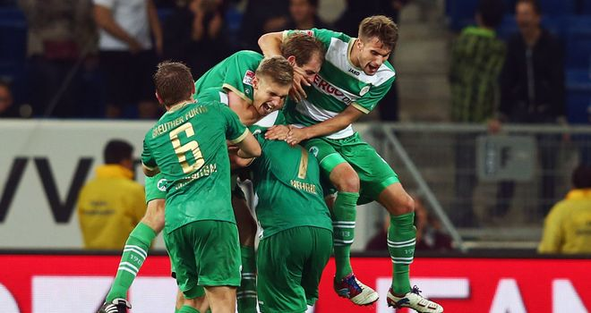 Greuther Fuerth celebrate Lasse Sobiech's equaliser