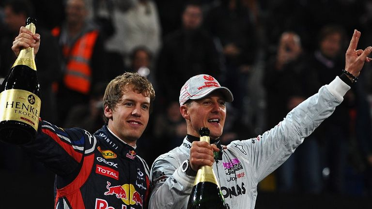 Hero: Sebastian Vettel with Michael Schumacher
