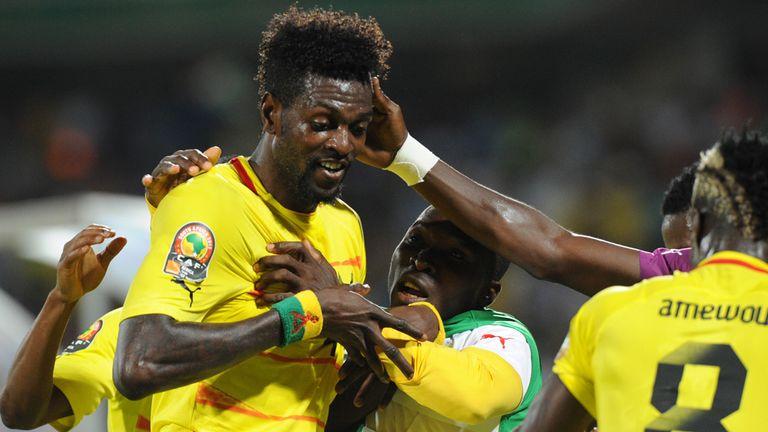Emmanuel Adebayor: Celebrates the opening goal for Togo