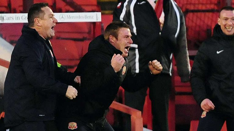 David Flitcroft: Celebrations at Oakwell during win over Leeds