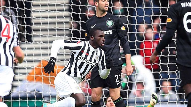 Esmael Goncalves wheels away after giving St Mirren an early lead