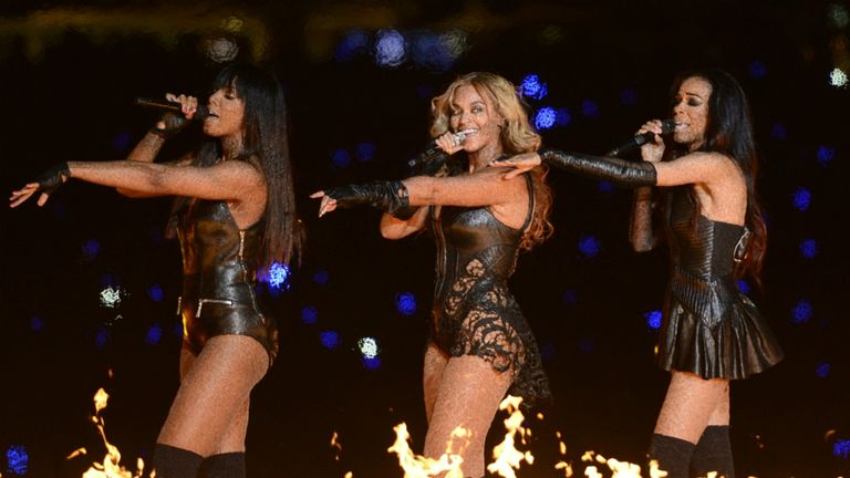 Beyonce was joined by her former Destiny's Child band mates for her Super Bowl set