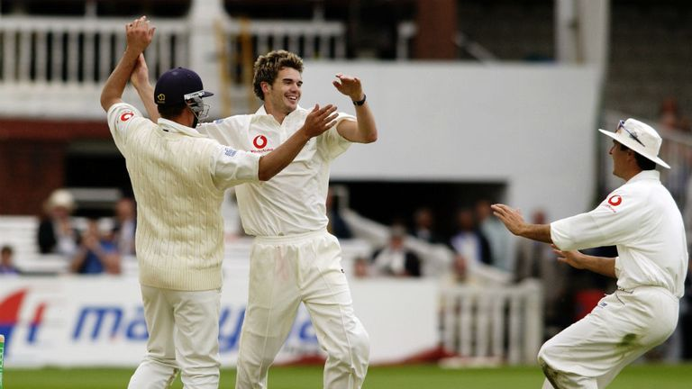 Anderson bowled Mark Vermeulen at Lord's on debut in 2003