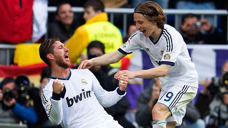 Captain Sergio Ramos celebrates after bagging El Clasico winner