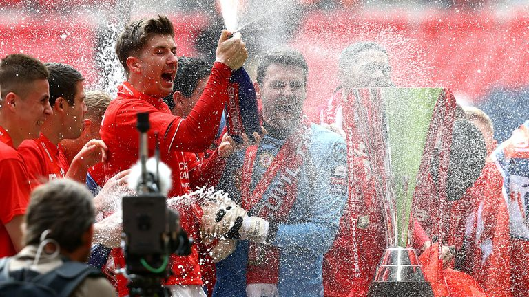 Crewe: Celebration time at Wembley