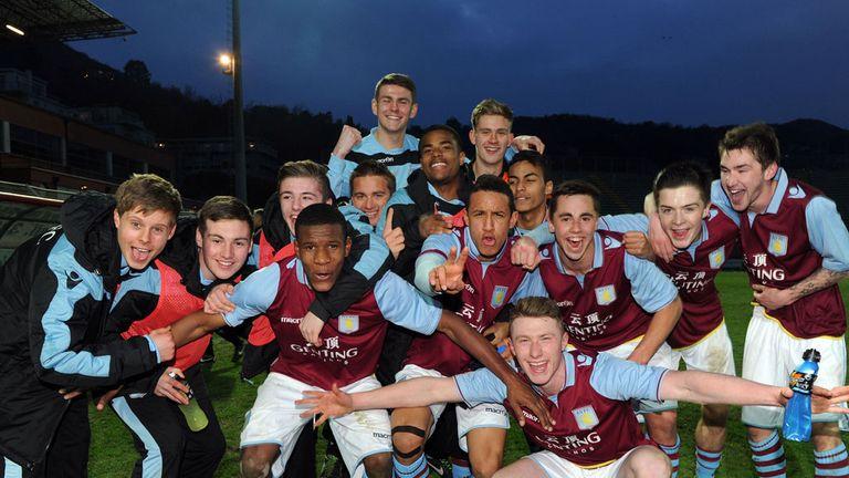 Aston Villa's players celebrate