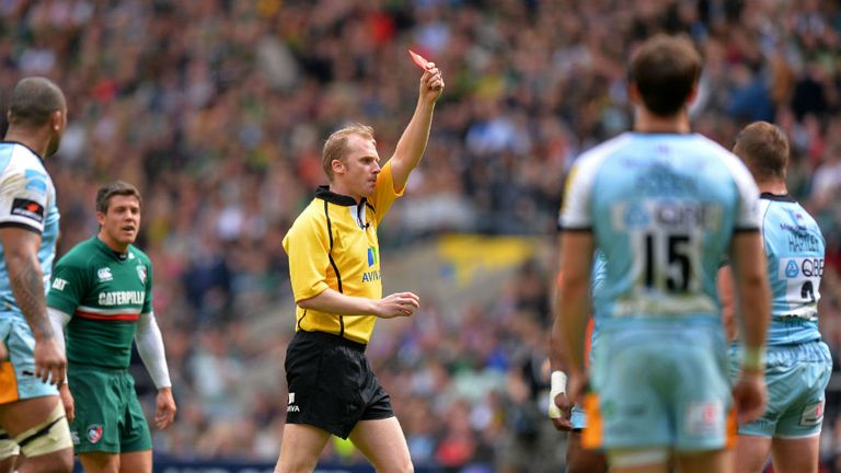 Wayne Barnes shows the red card to Dylan Hartley (far right) during the Aviva Premiership final