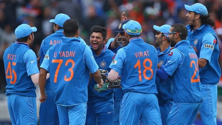 India celebrate winning the Champions Trophy at Edgbaston four years ago