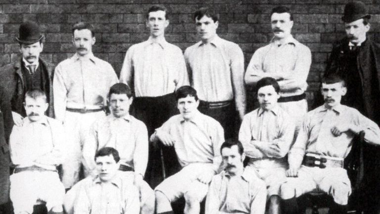 Kenny Davenport (middle row, first left) scored the first ever goal in the Football League