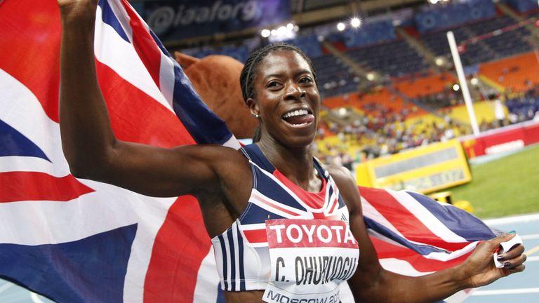 Christine Ohuruogu celebrates gold