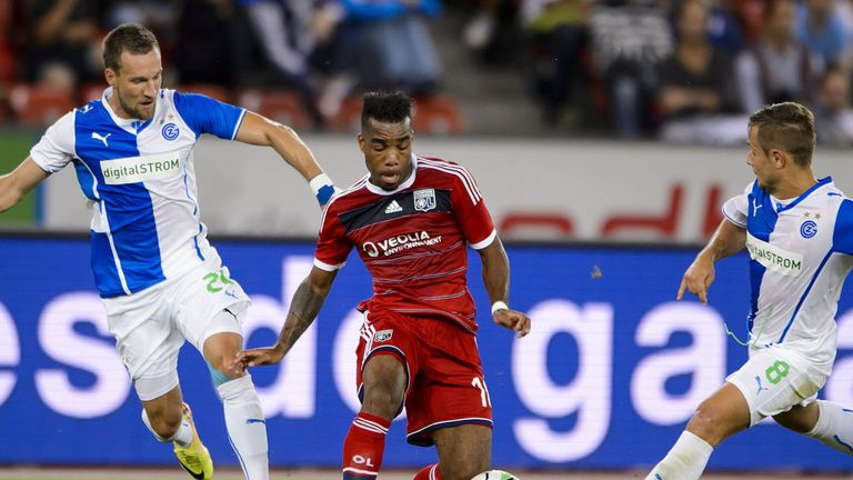 Alexandre Lacazette: In action for Lyon away to Grasshoppers