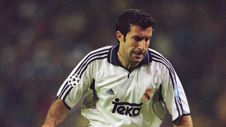 Figo joined Real Madrid for a world record fee - he broke the previous mark held by Argentina striker Hernan Crespo