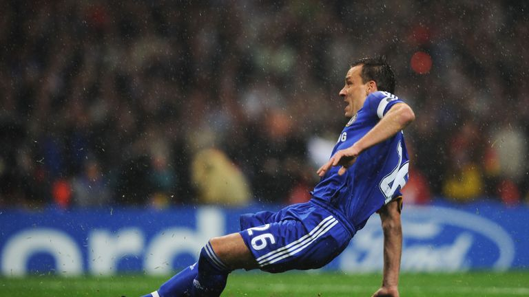 John Terry slipped and missed what would have been the winning penalty for Chelsea against Man United in the 2008 final