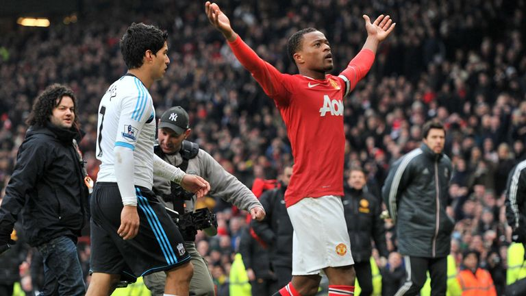 Evra celebrated United's win over Liverpool in front of Suarez in 2012