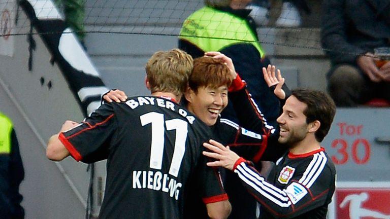 Heung Min Son of Bayer Leverkusen celebrates