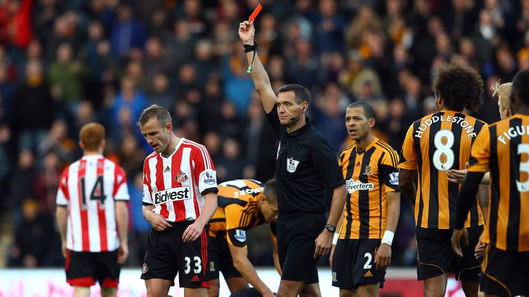 Lee Cattermole receives his marching orders