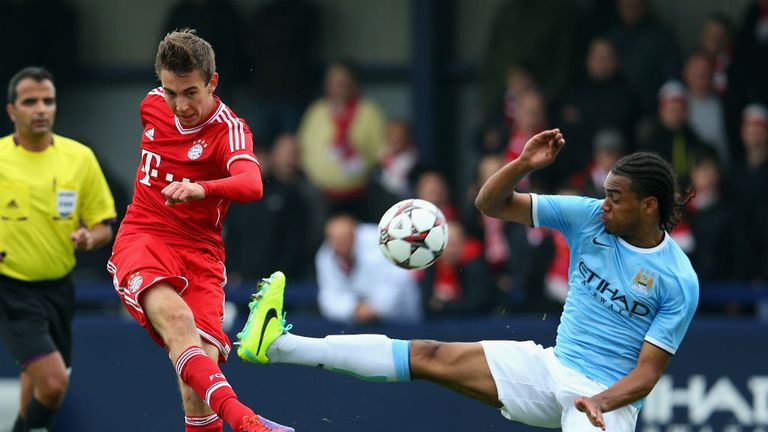Jason Denayer: Pictured in action last month in Manchester City's UEFA Youth Champions League match against Bayern Munich