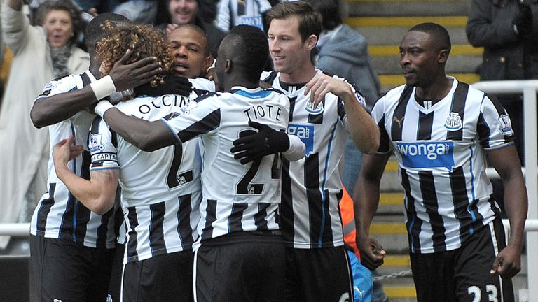 Loic Remy celebrates opening the scoring in Newcastle's 2-1 win over Norwich