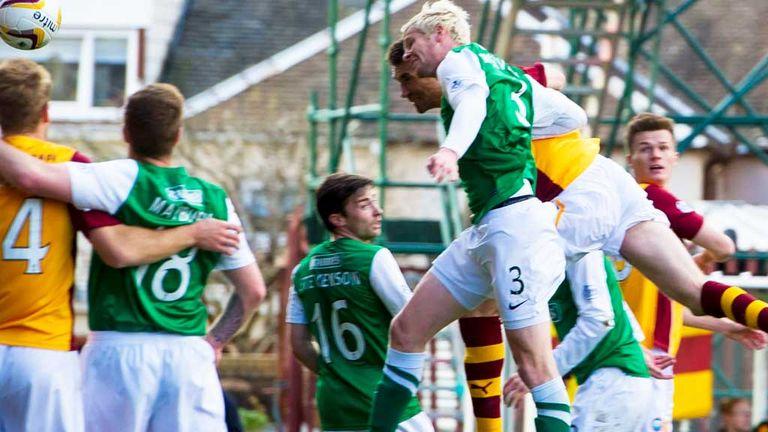 Stephen McManus: Scores the decisive goal as Motherwell beat Hibernian 1-0.