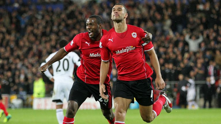 Steven Caulker (right): Cardiff defender has scored for England but has been invited to play for Scotland