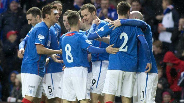 Rangers celebrate Jon Daly's opener against Airdrie