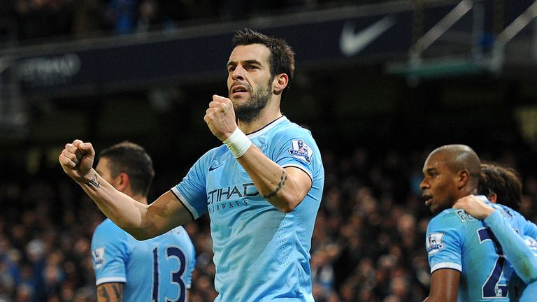 Alvaro Negredo: Celebrates his winning goal for Manchester City against Liverpool