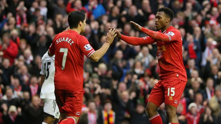 Daniel Sturridge: Celebrates with Luis Suarez after netting against Swansea