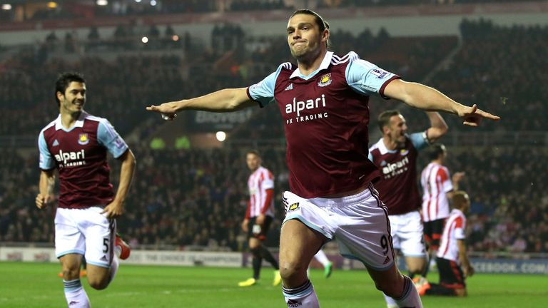 Andy Carroll: Celebrates his early goal at the Stadium of Light