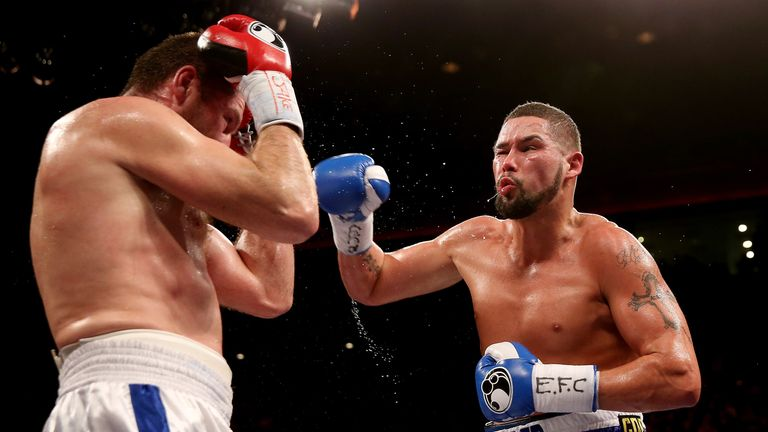 Tony Bellew: Lands a right hand on tough Russian Valery Brudov in Liverpool