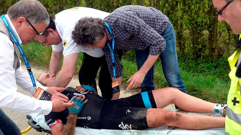 Stannard had to be taken away on a stretcher (Picture: Graham Watson)