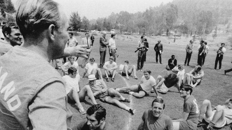 England manager Alf Ramsey with his team at a training session during the World Cup in Mexico 1970.